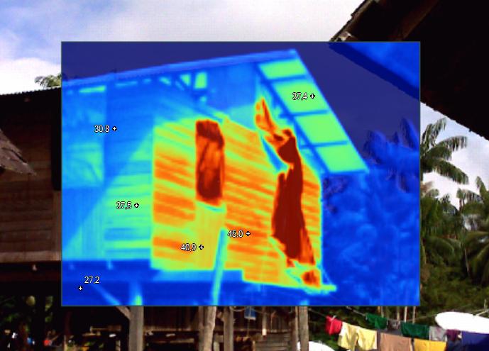 Thermographie sur un carbet à toit tole